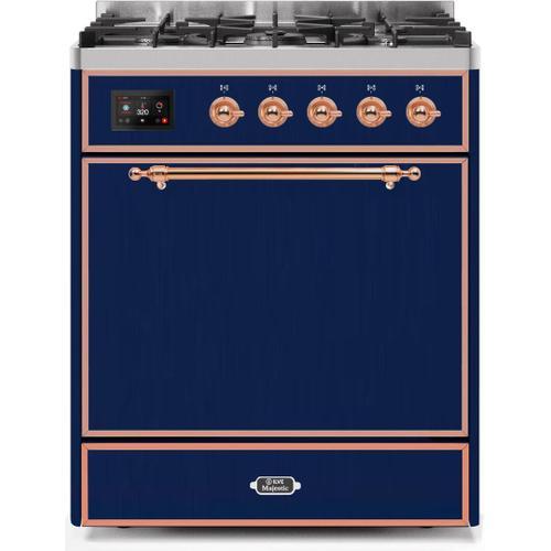 Majestic II 30 Inch Dual Fuel Liquid Propane Freestanding Range in Blue with Copper Trim