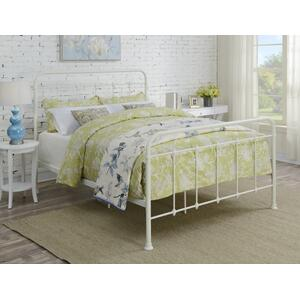 All-in-One Curved Queen Metal Bed - Cream