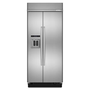 20.8 cu ft 36-Inch Width Built-In Side-by-Side Refrigerator with PrintShield™ Finish - Stainless Steel with PrintShield™ Finish