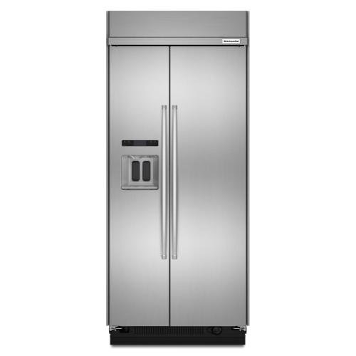 Product Image - 20.8 cu ft 36-Inch Width Built-In Side-by-Side Refrigerator with PrintShield™ Finish - Stainless Steel with PrintShield™ Finish