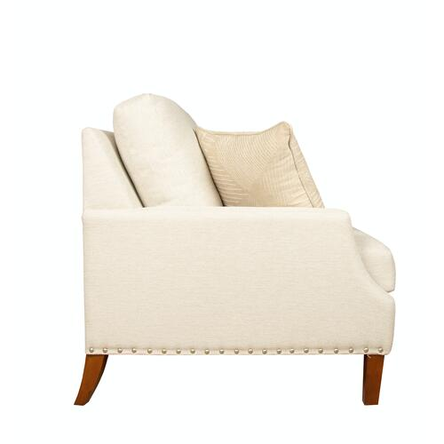 """Capris Furniture - 2 encased back pillows over 2 Convo-Lux seat cushion Skirted Sofa w/ 7"""" Pyramid legs available in Walnut or Driftwood."""