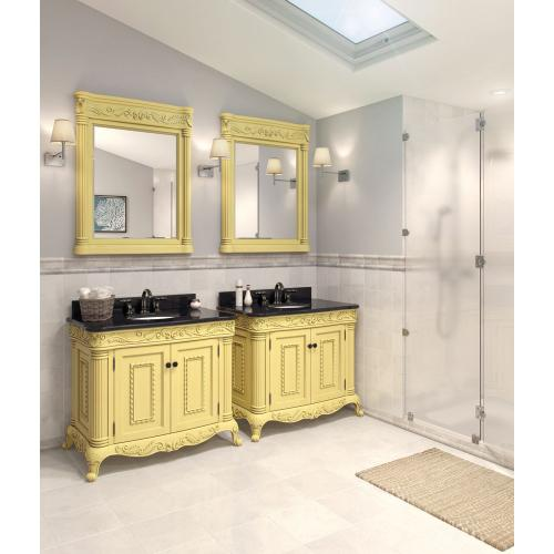 "39-11/16"" vanity with antique White finish and hand-carved botanical and rope details and framed with reed-style columns with preassembled top and bowl."