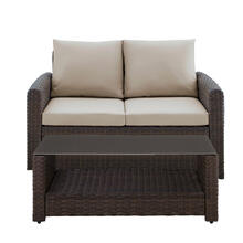 Product Image - Wicker-Look Upholstered Outdoor Loveseat and Table Set in Chocolate Brown / Beige (Component 2 of 2)