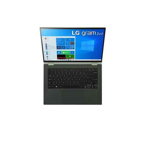 "LG - 14"" Topaz Green 16:10 WUXGA 2-in-1 touch gram Laptop with Windows 10 Pro, 16GB RAM, 512GB SSD, 11th Gen Intel® Quad Core™ i7 Processor, Intel® Evo™ Platform & Thunderbolt™ 4"