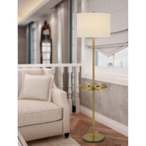 150W 3 way Crofton metal floor lamp with centered metal tray table with 2 USB charging ports and weighted metal base