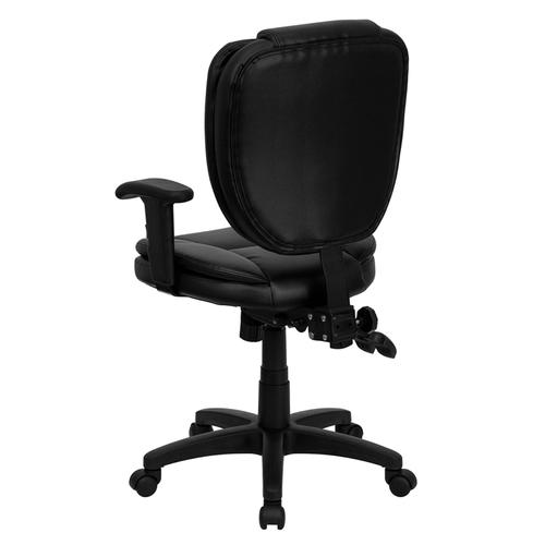 Gallery - Mid-Back Black LeatherSoft Multifunction Swivel Ergonomic Task Office Chair with Pillow Top Cushioning and Arms