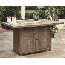 Beachcroft RECT Bar Table w/Fire Pit Beige