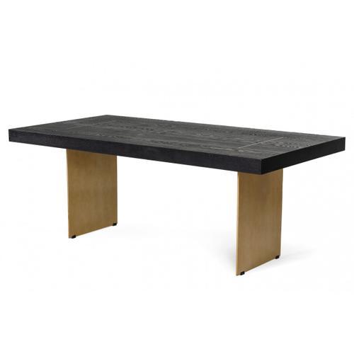 Modrest Perret - Glam Black Ash & Brass Gold Dining Table