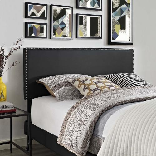Macie Queen Vinyl Platform Bed with Round Splayed Legs in Black