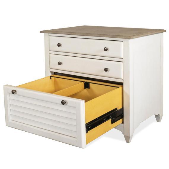 Riverside - Myra - Lateral Files Cabinet - Natural/paperwhite Finish