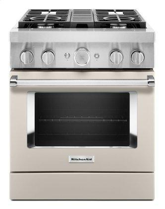 KitchenAid™ 30'' Smart Commercial-Style Dual Fuel Range with 4 Burners - Matte Milkshake