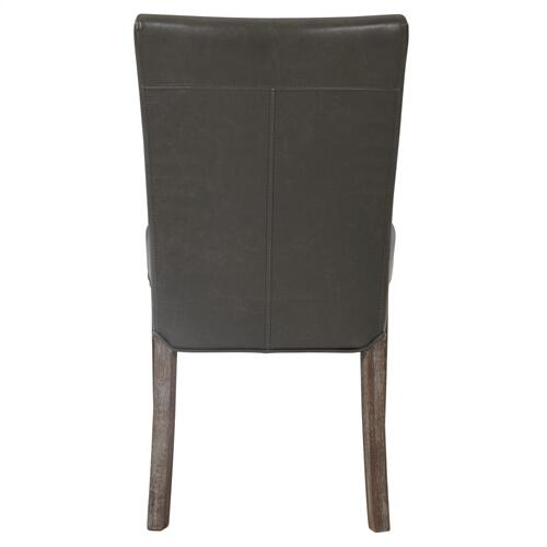 Beverly Hills Bonded Leather Dining Side Chair Drift Wood Legs, Vintage Gray