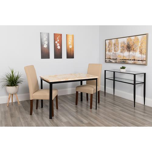 "Avalon 30"" x 45.75"" Rectangular Dining Table in Quartz Marble-Like Finish"