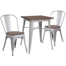 """23.5"""" Square Silver Metal Table Set with Wood Top and 2 Stack Chairs"""