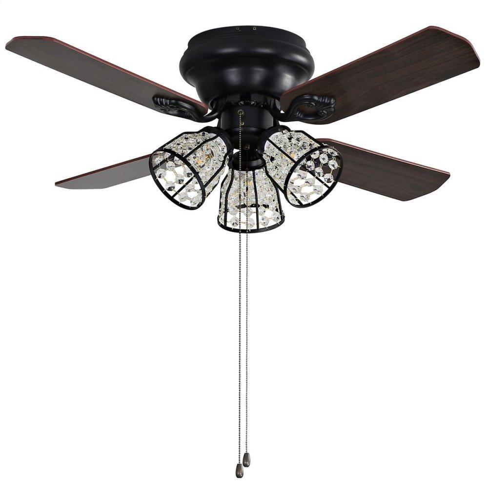 Pearla Ceiling Light Fan - Dark Walnut With Black / Dark Walnut