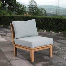 Marina Armless Outdoor Patio Teak Sofa in Natural Gray