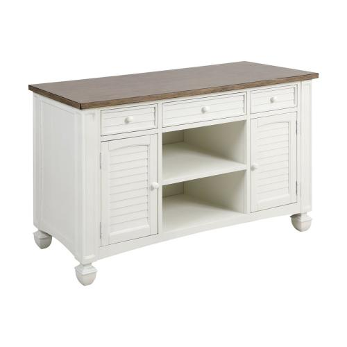 Nantucket 2-door 3-drawer Console Table In Off-white With Brown-grey Top