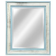 Light Blue and White Wood Framed Mirror