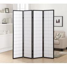 See Details - 4 Panel Black Oriental Shoji Screen / Room Divider