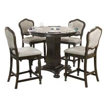 "CR-87711-TCB-5P  Vegas 5 Piece 42"" Round Counter Height Dining, Chess and Poker Table Set  Reversible 3 in 1 Game Top  Distressed Gray Wood  Upholstered Stools with Nailheads"
