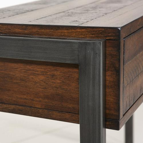 Heavily Distressed Industrial Style Two Drawer Accent Storage Console Table