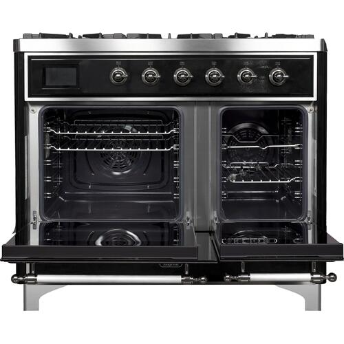 Majestic II 40 Inch Dual Fuel Natural Gas Freestanding Range in Glossy Black with Chrome Trim