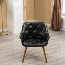 Vauclucy Contemporary Faux Leather Diamond Tufted Bucket Style Dining Chair, Black