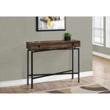 """ACCENT TABLE - 42""""L / BROWN RECLAIMED WOOD/ BLACK CONSOLE"""