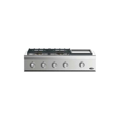 """36"""" Professional Cooktop: 4 Burners With Griddle"""