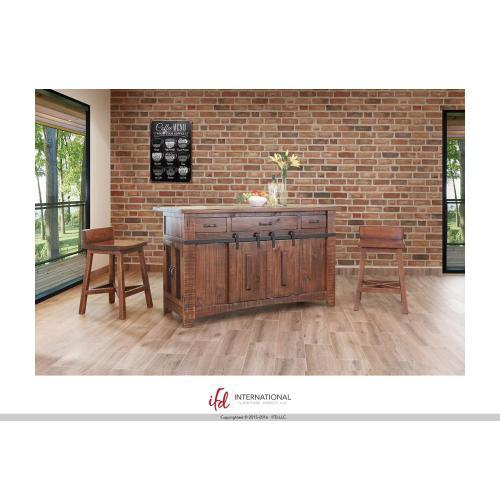 Artisan Home Furniture - 3 Drawer Kitchen Island w/2 sliding doors, 2 Mesh doors on each side