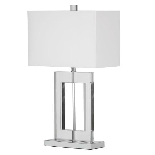 1lt Table Lamp Rect Crystal W/wht Shd
