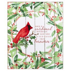 Cardinal Wall Plaque - When a cardinal appears in your yard it is a visitor from heaven