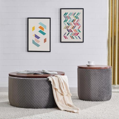 Essen Quilted Velvet Fabric Round Storage Ottoman, Walnut/ Serene Dark Gray