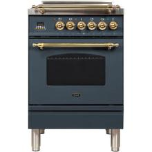 Nostalgie 24 Inch Gas Liquid Propane Freestanding Range in Blue Grey with Brass Trim
