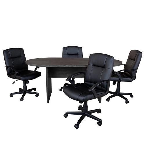 Gallery - 5 Piece Rustic Gray Oval Conference Table Set with 4 Black LeatherSoft-Padded Task Chairs