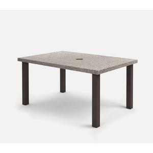 """42"""" x 62"""" Rectangular Cafe Table (with Hole) Ht: 30.25"""" Post Aluminum Base (Model # Includes Both Top & Base)"""
