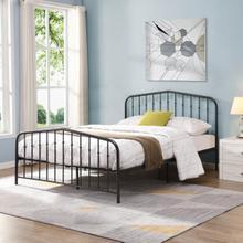 See Details - 7632 DARK GRAY Vintage Victorian Arc Metal Platform Bed - FULL