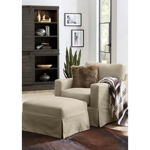 Sierra Ottoman with Alpha Stone Fabric