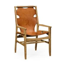 Midcentury style slung medium antique chestnut leather light oak armchair