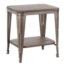 Oregon End Table - Antique Metal, Espresso Bamboo