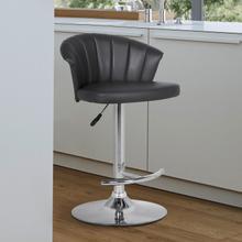 Kenzie Adjustable Modern Grey Faux Leather Bar Stool