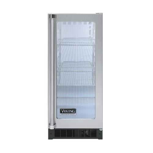 "Viking - Stainless Steel 15"" Glass Door Beverage Centers - VUAR (White Interior, Fluted Glass, Right Hinge)"