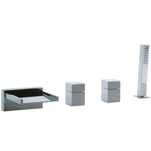 Quarto 4-Hole Deck Mount Open Chute Tub Filler with Cube Control Chrome