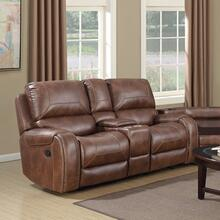 See Details - Achern Brown Leather Nailhead Air Reclining Loveseat with Storage Console
