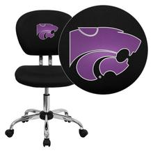 Kansas State University Wildcats Embroidered Black Mesh Task Chair with Chrome Base