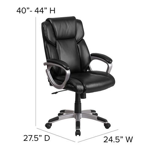 Gallery - Mid-Back Black LeatherSoft Executive Swivel Office Chair with Padded Arms