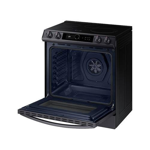 Samsung - 6.3 cu. ft. Smart Slide-in Induction Range with Smart Dial & Air Fry in Black Stainless Steel
