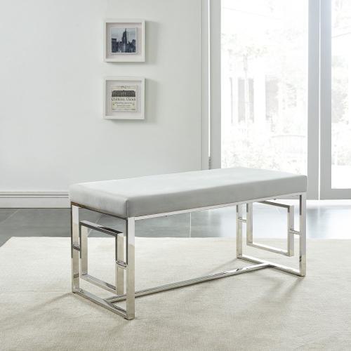 Eros Bench in Silver/Grey