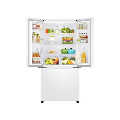18 cu. ft. Smart Counter Depth 3-Door French Door Refrigerator in White