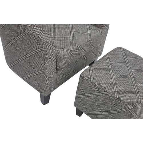 Accent Chair & Ottoman in Gray & White